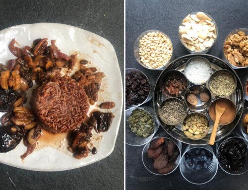 טנזיה פירות יבשים על מצע אורז אדום וזעפרן